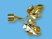ЛИСТЬЯ ЗОЛОТО ГЛЯНЕЦ - наконечник для металлического карниза - выбор формы и цвета
