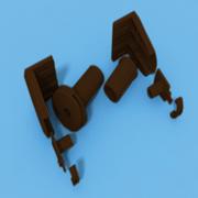 Комплект кронштейнов коричневый BESTA и механизм управления под трубу 17-19 мм КОРИЧНЕВЫЙ для МИНИ рулонной шторы - цена за 1 к-т